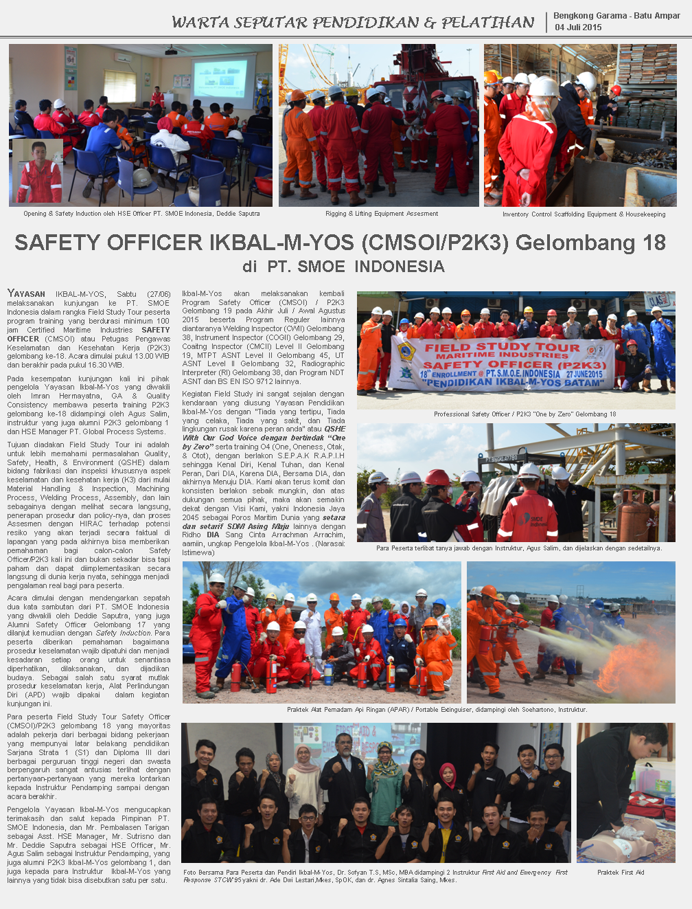 Study Tour Safety Officer Gel.18 di PT. SMOE